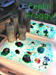 Sense of Wonder: Small World Play: Frog Pond. I still need to make a light table! Sensory Tubs, Sensory Boxes, Sensory Play, Frog Activities, Classroom Activities, Frog Life, Frog Theme, Pond Life, Small World Play