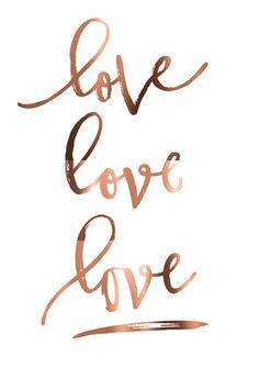 "Real Copper foil print ""love love love"" A4 poster. Modern wall art poster"