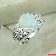 fashion 925 silver jewelry white fire opal gemstone fine ring