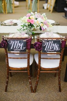 Rustic Wedding Chair Signs - Mr. & Mrs. Signs- Wedding Photo Props - Wedding Chalkboards