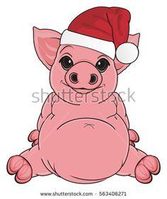 smiling pig in red holiday hat sit: купите эту иллюстрацию на Shutterstock и найдите другие изображения.