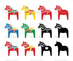 Swedish Dala Horse Vector Icons Set #GraphicRiver Symbol of scandynavia – traditional dala horse isolated on white FEATURES: 100% Vector Shapes All groups have names All elements are easy to modify – you can change coulours, size Pack include version AI, EPS, JPG Created: 30 November 13 Graphics Files Included: JPG Image #Vector EPS #AI Illustrator Layered: No Minimum Adobe CS Version: CS Tags Dalarna #animal #art #black #blue #dala #green #hand drawn #hand painted #heart #horse #icon #love…