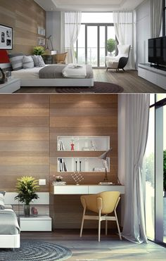 The way the walls are done catch my eye. Everything is sleek and modern yet a touch of cozy added.