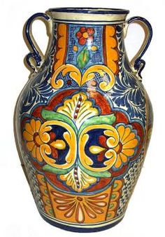 """Talavera Vase With Handles ~ Gorgeous, handmade & painted Talavera vase.  This tall piece (18 1/2"""") made by the master artisans at Jess-Mar in Mexico, will enrich that special place in your home. $249"""