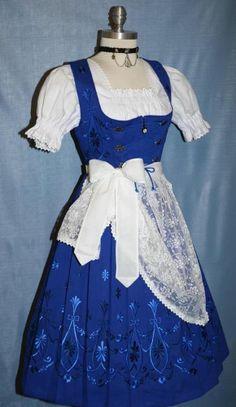 NEW ~ 3pc LONG BLUE German Swing Oktoberfest DIRNDL Party DRESS Costume 44  14 L #Fashion #Style #Deal