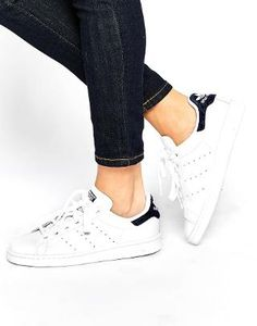Image 1 of adidas Originals White & Indigo Stan Smith Sneakers
