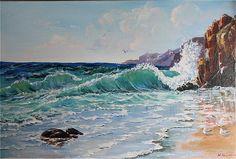 The Crashing Sea Wave, Original Fine Art Painting, 40 x 60 cm, Acrylic, M.Beikmane