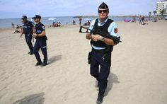 Britons visiting France will notice increased security at beaches, festivals and fairs as well as at stations and airports. Armed police are pictured…