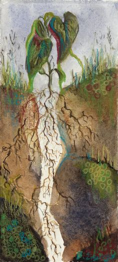 """""""Two Places At One Time"""":  Watercolor by BETH EISINGER (Archival print available on Etsy). """"I grew up in Germany, Turkey and the United States and put down roots in all these places. I now feel like a single plant trying to maintain all these roots systems, stretched awkwardly between different countries. It is as if I have to be in Two (or more) Places At One Time."""""""