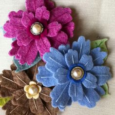 Recycled wool jumpers into brooches