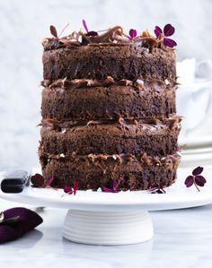 Brownie-lagkage med saltkaramel