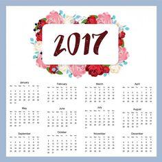 2017 projeto do calendário Vetor grátis