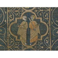 The Clare Chasuble (detail), made 1272-1294 woven in Iran, probably embroidered in England, Silk warp and cotton weft in five-shaft satin weave, embroidered with silver-gilt, silver and colored silk thread, V&A. Made at some time during the marriage of Margaret de Clare and Edmund Plantagenet, Duke of Cornwall. At one time it may have included the coats of arms of Clare, Cornwall, Lacy and England. These stand for Margaret de Clare who married Edmund Plantagenet in 1272, divorced in 1294.