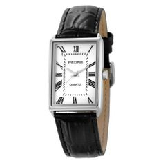 Pedre Men's 0340SX Classic Silver-Tone Strap Watch Pedre. $75.00. Genuine leather strap. Deluxe gift packaging. Precision Japanese quartz movement, accurate to within one minute per year. Mineral crystal. Stainless steel case-back