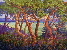 Eden Dream by Greta Guzek, 36 x Acrylic on Canvas Arbutus Tree, Forest Painting, Landscape Drawings, Canadian Artists, Tree Art, Beautiful Landscapes, Amazing Art, Vivid Colors, Art Reference