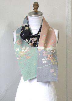 Silk Kimono Scarf Amazing Japanese Vintage versitile by Wabiske