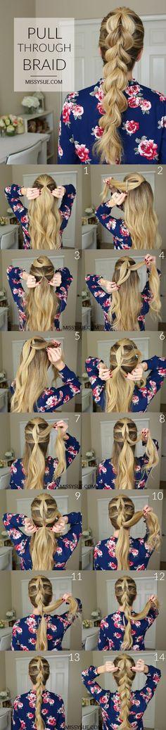 pull-through-braid-hair-tutorial. , pull-through-braid-hair-tutorial Pretty Hairstyles, Girl Hairstyles, Braided Hairstyles, Hairstyle Ideas, Latest Hairstyles, Simple Hairstyles, Wedding Hairstyles, Pull Through Braid, Braids For Short Hair