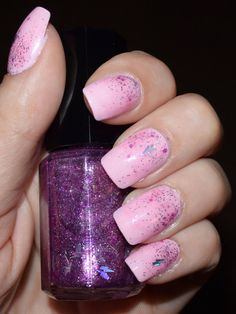 """This is my """"Pink Lightning"""" nail polish. It can be used as a Top Coat like pictured above or as a Base Coat like pictured on my Etsy Listing."""