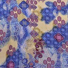 Tela Georgette Estampada Flor Hindú Azul