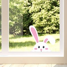 Easter Peeking Rabbit Window Sticker by Oakdene Designs, the perfect gift for Explore more unique gifts in our curated marketplace. Rabbit Crafts, Bunny Crafts, Easter Crafts For Kids, Easter Garland, Easter Decor, Easter Paintings, Window Stickers, Art For Kids, Diy
