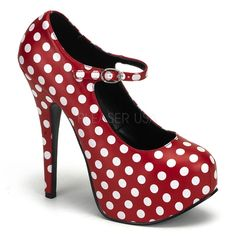 "Red w/White Polkadot 5 3/4"" Heel by Bordello"