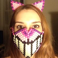 Accessories - Cheshire Cat kandi rave mask and ears