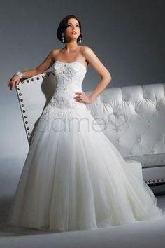 Spitze Strand abnehmbare Schleppe Tüll Prinzessin bodenlanges trägerloses Brautkleid