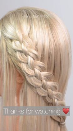 4 strand braid tutorial This is the other 4 strand braid Easy Hairstyle Video, Cool Braid Hairstyles, Braids For Short Hair, Braids Easy, Natural Hair Styles, Short Hair Styles, Hair Videos, Hair Beauty, Long Hairstyles