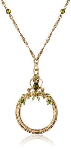 """1928 Jewelry Ornate Olivine Brass-Tone Magnifying Glass Necklace, 30"""" 1928 Jewelry,http://www.amazon.com/dp/B000W7DCD8/ref=cm_sw_r_pi_dp_JJ7ptb1XYDAZV7EQ"""