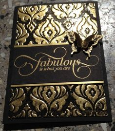 handmade card ...  black base with gold ... Beautifully Baroque by Julie Leeper ... stamped and embossed with Gold Embossing Powder ... rich, elegant look ... great for a formal event ... fabulous!! ...Stampin'Up!