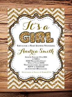 Glitter Baby Shower Invitation, IT'S a GIRL, Chevron Stripes, Pink, Lavender, Gold, Red, Green, It's a girl baby shower