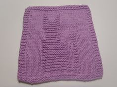 Cat Dishcloths Knit Cat Washcloth Cotton Lilac by AMailys on Etsy