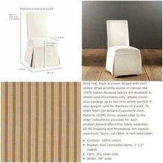 6 Ballard Designs Parsons Chair Slipcovers Have Been Dry Cleaned Since Last  Used. Excellent Condition