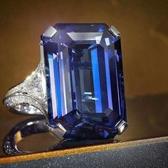 Sensational Sapphire The House of Graff is renowned for exceptional diamond and gemstone jewels, beautifully exemplified by this ring featuring a 30.82 carat emerald cut sapphire.