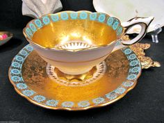 ROYAL STAFFORD TEA CUP AND SAUCER GOLD GILT WIDE MOUTH TEACUP ETCHED GOLD | eBay