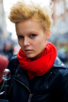 cool hair (black leather jacket, bright scarf)