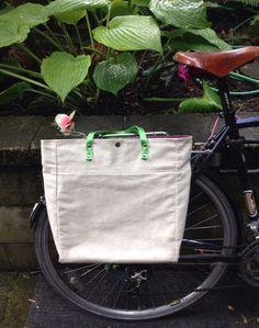 Hemp Tote Pannier / City Commuter Pannier / Bike Bag - Hemp and Canvas by LetsKeepMoving on Etsy https://www.etsy.com/uk/listing/387250490/hemp-tote-pannier-city-commuter-pannier