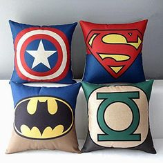 Superheroes Style Throw Pillow Cover  (4pcs)       Deal of the day >>>  http://amzn.to/2bTN6Pd