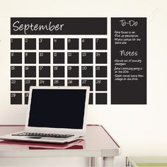 I really like this for a small office space.   Chalkboard Calendar| Writable Chalkboard Wall Decal| WallsNeedLove