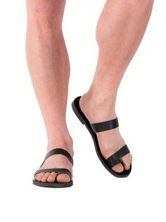 Black Mens Flats Leather Sandals Mens Summer Shoes Leather