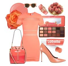 """I Got 99 Problems But A Peach Ain't One Of Them"" by rachael-aislynn ❤ liked on Polyvore featuring Too Faced Cosmetics, Essie, Elizabeth and James, MICHAEL Michael Kors, CÉLINE, Salvatore Ferragamo, Very French Gangsters, Spring, Pink and peach"