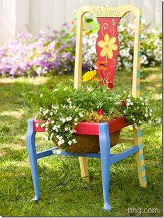 Old chair planter--gorgeous!