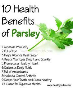 10 Health Benefits of Parsley! #herb #wellness #health #nutrition