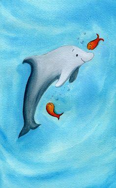 Kids Beach Decor Boy Girl Dolphin Summer By Talkingdonkeystudio, $30.00