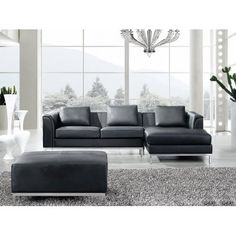 BELIANI Sectional Sofa with Ottoman L Black Leather OSLO #leathersectionalsofas