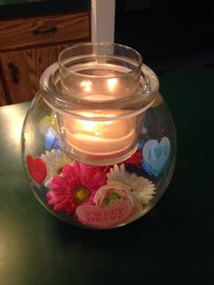 Clearly Creative GloLite jar from PartyLite decorated for Valentines day To order go to: www.