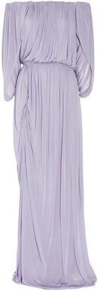 ShopStyle: Halston Off-the-shoulder jersey gown