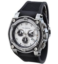 CALABRIA  MAESTRO  White  Black Dial Chronograph Mens Watch with Carbon Fiber Bezel * You can find more details by visiting the image link.