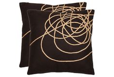 Set of 2 Coiled 18x18 Pillows, Brown on OneKingsLane.com  something like this in green/brown lumbar--for the porch