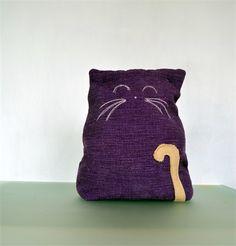 Large purple cat door stop